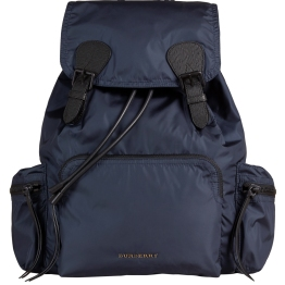 14. The Medium Rucksack in Technical Nylon and Leather - Ink Blue