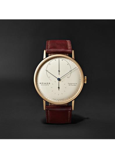 Nomos - Lambda 42mm 18-Karat Rose Gold and Leather Watch