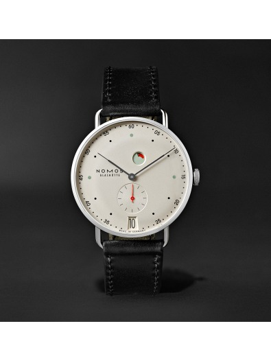 Nomos Metro Datum Gangreserve 37mm Stainless Steel and Leather Watch