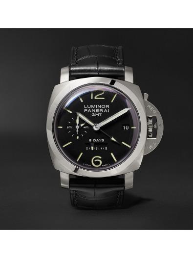 Panerai Luminor 1950 8 Days GMT 44mm Stainless Steel and Alligator Watch