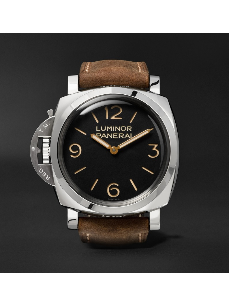Panerai Luminor 1950 Left-Handed 3 Days 47mm Stainless Steel and Leather Watch