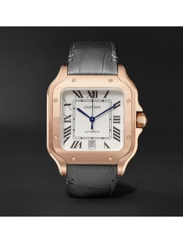 Santos Automatic Large Pink Gold and Alligator Watch (PID 1073519)