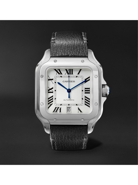 Santos Automatic Large Stainless Steel and Leather Watch (PID 1073522) MR P Exclusive