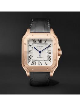 Santos Automatic Medium Pink Gold and Alligator Watch (PID 1078367)
